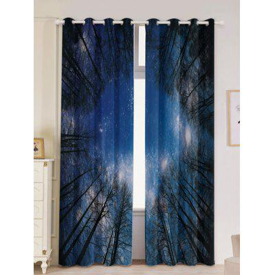 Forest Starry Sky Printed Window Curtains