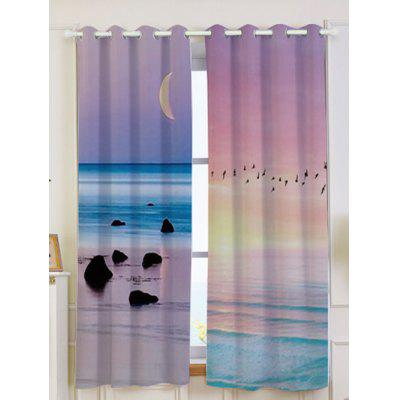 2Pcs Seaside Sunset Printed Lightproof Window Curtains