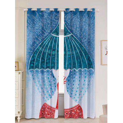 2Pcs Lightproof Abstract Printed Window Curtains