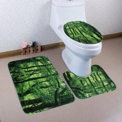 Buy GREEN Forest Pattern 3 Pcs Toilet Mat Bath Mat for $17.85 in GearBest store