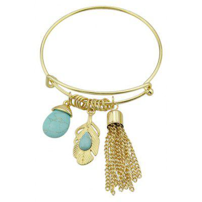 Faux Turquoise Fringed Teardrop Feather Bracelet