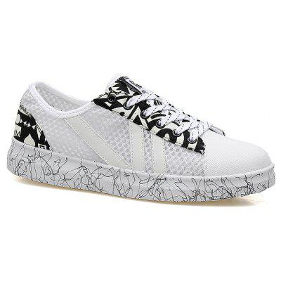 Buy WHITE Color Block Graffitti Mesh Sneakers for $35.50 in GearBest store