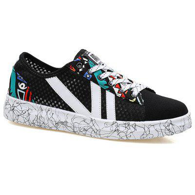 Buy BLUE AND BLACK Color Block Graffitti Mesh Sneakers for $35.50 in GearBest store