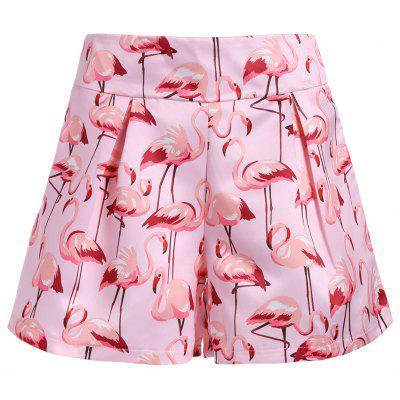 High Waist Flamingo Print Mini Shorts