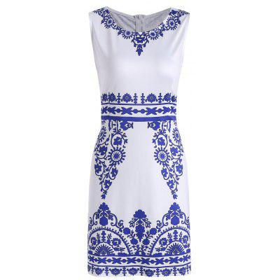 Buy WHITE M Sleeveless Porcelain Print Sheath Dress for $20.36 in GearBest store