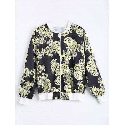 Plus Size Zip Up Printed Bomber Jacket