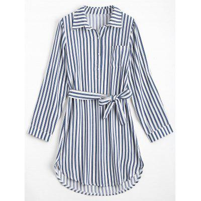 Buy DEEP BLUE S Striped Long Sleeve Dress with Belt for $25.65 in GearBest store
