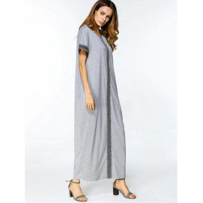 Geometric Embroidered Trim Loose Maxi DressMaxi Dresses<br>Geometric Embroidered Trim Loose Maxi Dress<br><br>Dresses Length: Floor-Length<br>Embellishment: Embroidery<br>Material: Cotton, Polyester<br>Neckline: Round Collar<br>Occasion: Casual , Going Out<br>Package Contents: 1 x Dress<br>Pattern Type: Geometric<br>Season: Summer<br>Sleeve Length: Short Sleeves<br>Weight: 0.4350kg<br>With Belt: No