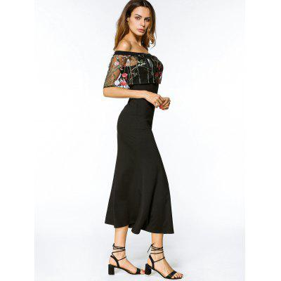 Off Shoulder Floral Embroidered Overlay Midi DressMaxi Dresses<br>Off Shoulder Floral Embroidered Overlay Midi Dress<br><br>Dresses Length: Mid-Calf<br>Embellishment: Embroidery<br>Material: Cotton, Polyester<br>Neckline: Off The Shoulder<br>Occasion: Casual, Going Out<br>Package Contents: 1 x Dress<br>Pattern Type: Floral<br>Season: Summer<br>Sleeve Length: Short Sleeves<br>Weight: 0.3450kg<br>With Belt: No