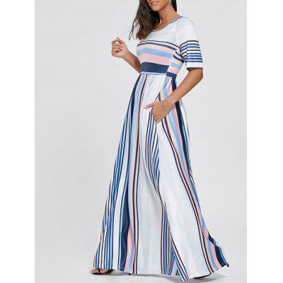 Half Sleeve Color Block Striped Maxi Dress