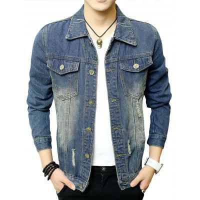 Button Up Chest Pocket Distressed Denim Jacket