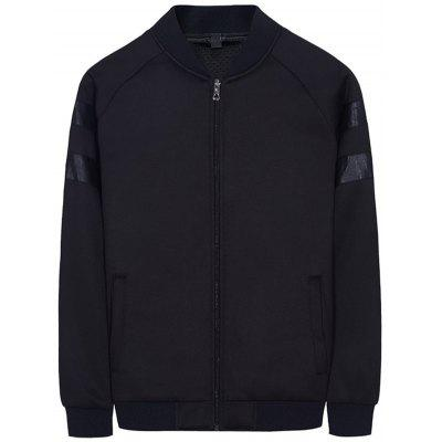 Raglan Sleeve PU Panel Bomber Jacket