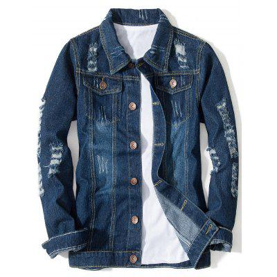 Button Up Distressed Pocket Denim Jacket