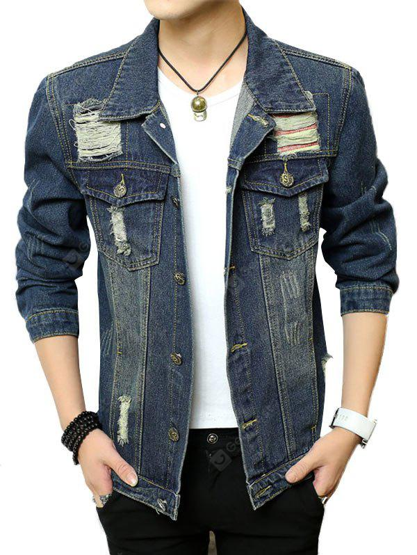 Button Up Chest Pocket Ripped Denim Jacket