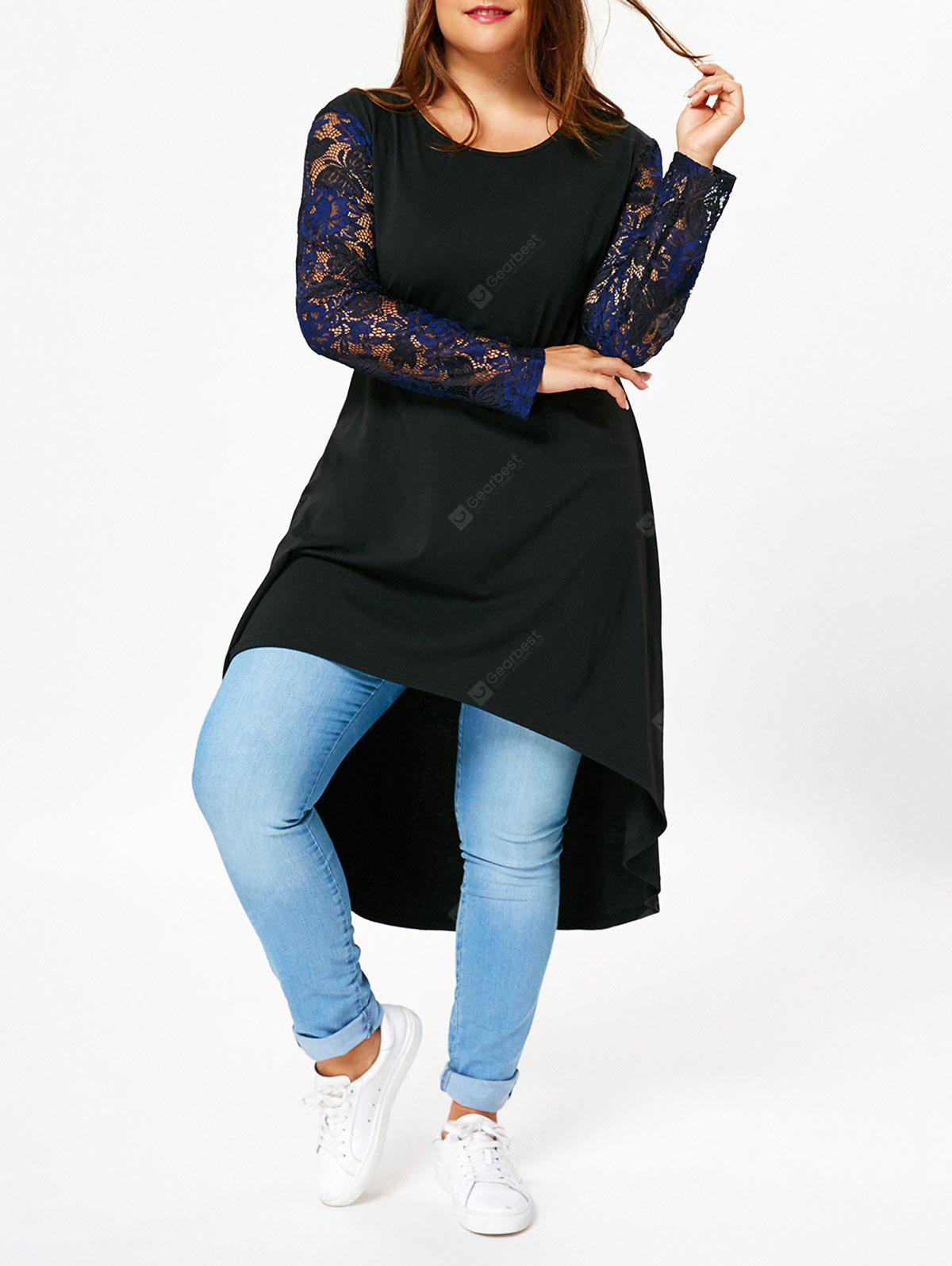 Plus Size Lace Long Sleeve High Low T-shirt Dress