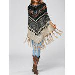 Fringe Beaded Asymmetric Cape Sweater - BEIGE