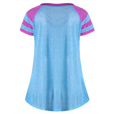Lattice Neck Two Tone T-shirtTees<br>Lattice Neck Two Tone T-shirt<br><br>Collar: V-Neck<br>Material: Polyester, Spandex<br>Package Contents: 1 x T-shirt<br>Pattern Type: Solid<br>Season: Summer<br>Shirt Length: Regular<br>Sleeve Length: Short<br>Style: Casual<br>Weight: 0.1500kg