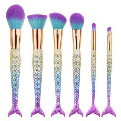 6Pcs Ombre Mermaid Tail Facial Makeup Brushes