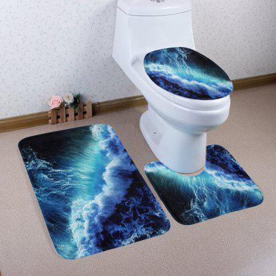 Buy DEEP BLUE 3 Pieces Sea Surge Coral Fleece Bathroom Mats Set for $17.85 in GearBest store