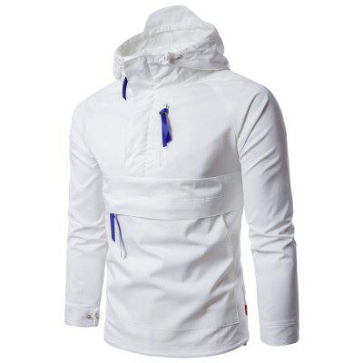 Buy WHITE L Hooded Half Zip Pullover Lightweight Jacket for $37.32 in GearBest store