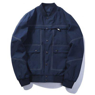 Buy DEEP BLUE XL Multi Pockets Button Up Bomber Jacket for $36.15 in GearBest store