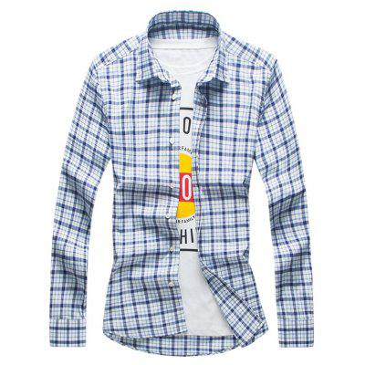 Buy CHECKED Turndown Collar Tartan Button Down Shirt for $21.79 in GearBest store