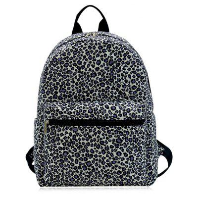 Buy BLACK LEOPARD PRINT Zippers Quilted Backpack for $25.85 in GearBest store