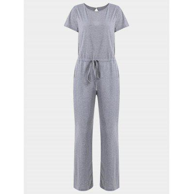 Drawstring Invisible Pockets Wide Leg Jumpsuit