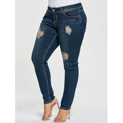 Buy DENIM BLUE XL Plus Size Ripped Pencil Jeans for $27.65 in GearBest store