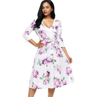 Flower Print Midi Wrap DressWomens Dresses<br>Flower Print Midi Wrap Dress<br><br>Dress Type: Wrap Dress<br>Dresses Length: Mid-Calf<br>Material: Polyester, Spandex<br>Neckline: Sailor Collar<br>Package Contents: 1 x Dress 1 x Belt<br>Pattern Type: Floral<br>Season: Spring, Fall<br>Silhouette: A-Line<br>Sleeve Length: 3/4 Length Sleeves<br>Style: Casual<br>Weight: 0.4500kg<br>With Belt: Yes