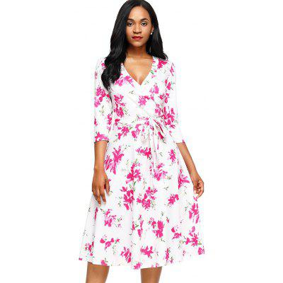 Midi Wrap Floral Print DressWomens Dresses<br>Midi Wrap Floral Print Dress<br><br>Dress Type: Wrap Dress<br>Dresses Length: Mid-Calf<br>Material: Polyester, Spandex<br>Neckline: V-Neck<br>Package Contents: 1 x Dress 1 x Belt<br>Pattern Type: Floral<br>Season: Spring, Fall<br>Silhouette: A-Line<br>Sleeve Length: 3/4 Length Sleeves<br>Style: Casual<br>Weight: 0.4500kg<br>With Belt: Yes