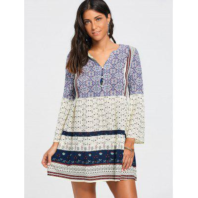 Three Quarter Sleeve V Neck Tunic DressWomens Dresses<br>Three Quarter Sleeve V Neck Tunic Dress<br><br>Dresses Length: Mini<br>Embellishment: Button<br>Material: Polyester<br>Neckline: V-Neck<br>Package Contents: 1 x Dress<br>Pattern Type: Print<br>Season: Fall, Summer, Spring<br>Silhouette: A-Line<br>Sleeve Length: 3/4 Length Sleeves<br>Style: Casual<br>Waist: Empire<br>Weight: 0.2000kg<br>With Belt: No
