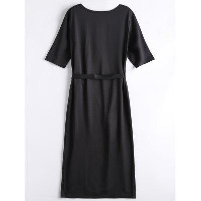 Wrap Front Slit Midi DressWomens Dresses<br>Wrap Front Slit Midi Dress<br><br>Dress Type: Wrap Dress<br>Dresses Length: Mid-Calf<br>Material: Cotton, Polyester<br>Neckline: V-Neck<br>Occasion: Causal, Day, Going Out, Work<br>Package Contents: 1 x Dress<br>Pattern Type: Solid<br>Season: Fall, Spring, Summer<br>Silhouette: A-Line<br>Sleeve Length: Half Sleeves<br>Style: Brief<br>Weight: 0.4100kg<br>With Belt: No