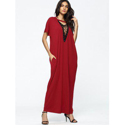 Choker Lace Up Loose Maxi DressMaxi Dresses<br>Choker Lace Up Loose Maxi Dress<br><br>Dresses Length: Floor-Length<br>Embellishment: Lace up<br>Material: Cotton, Polyester<br>Neckline: V-Neck<br>Occasion: Casual , Going Out<br>Package Contents: 1 x Dress<br>Pattern Type: Others<br>Season: Summer<br>Sleeve Length: Short Sleeves<br>Weight: 0.4350kg<br>With Belt: No