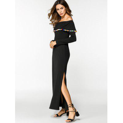 Off Shoulder Overlay Slit Maxi DressMaxi Dresses<br>Off Shoulder Overlay Slit Maxi Dress<br><br>Dresses Length: Floor-Length<br>Material: Cotton, Polyester<br>Neckline: Off The Shoulder<br>Occasion: Casual , Going Out<br>Package Contents: 1 x Dress<br>Pattern Type: Others<br>Season: Summer<br>Sleeve Length: Long Sleeves<br>Weight: 0.4350kg<br>With Belt: No