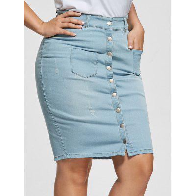 Light Wash Button Up Bodycon Denim Skirt