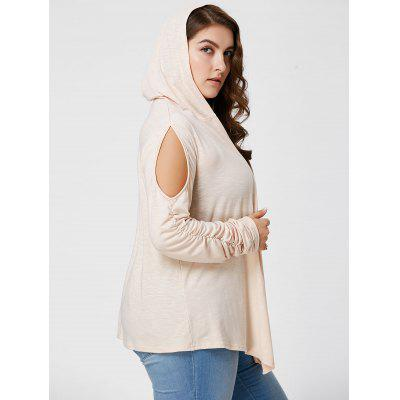 Plus Size Long Sleeve Cold Shoulder Hooded Cardigan