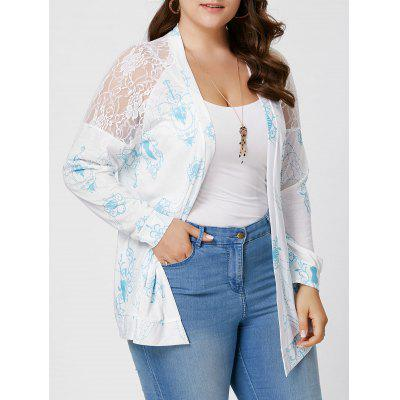 Plus Size Sheer Back Lace ganchillo de manga larga Cardigan