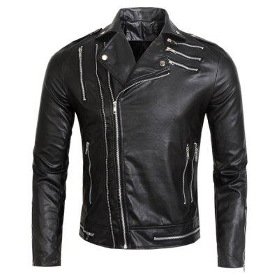 Turndown Collar Multi Zippers Faux Leather Jacket