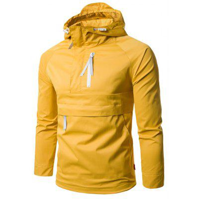 Hooded Half Zip Pullover Lightweight Jacket