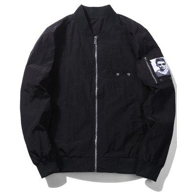 Zip Bomber Jacket with Patch Pocket Detail