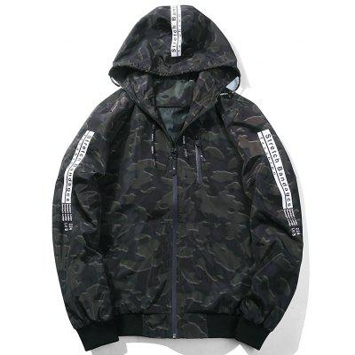 Zip Up Camo Graphic Hooded Jacket