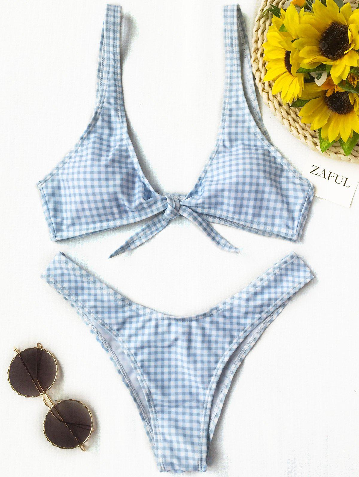 Thong Plaid Front Tie Bikini Set