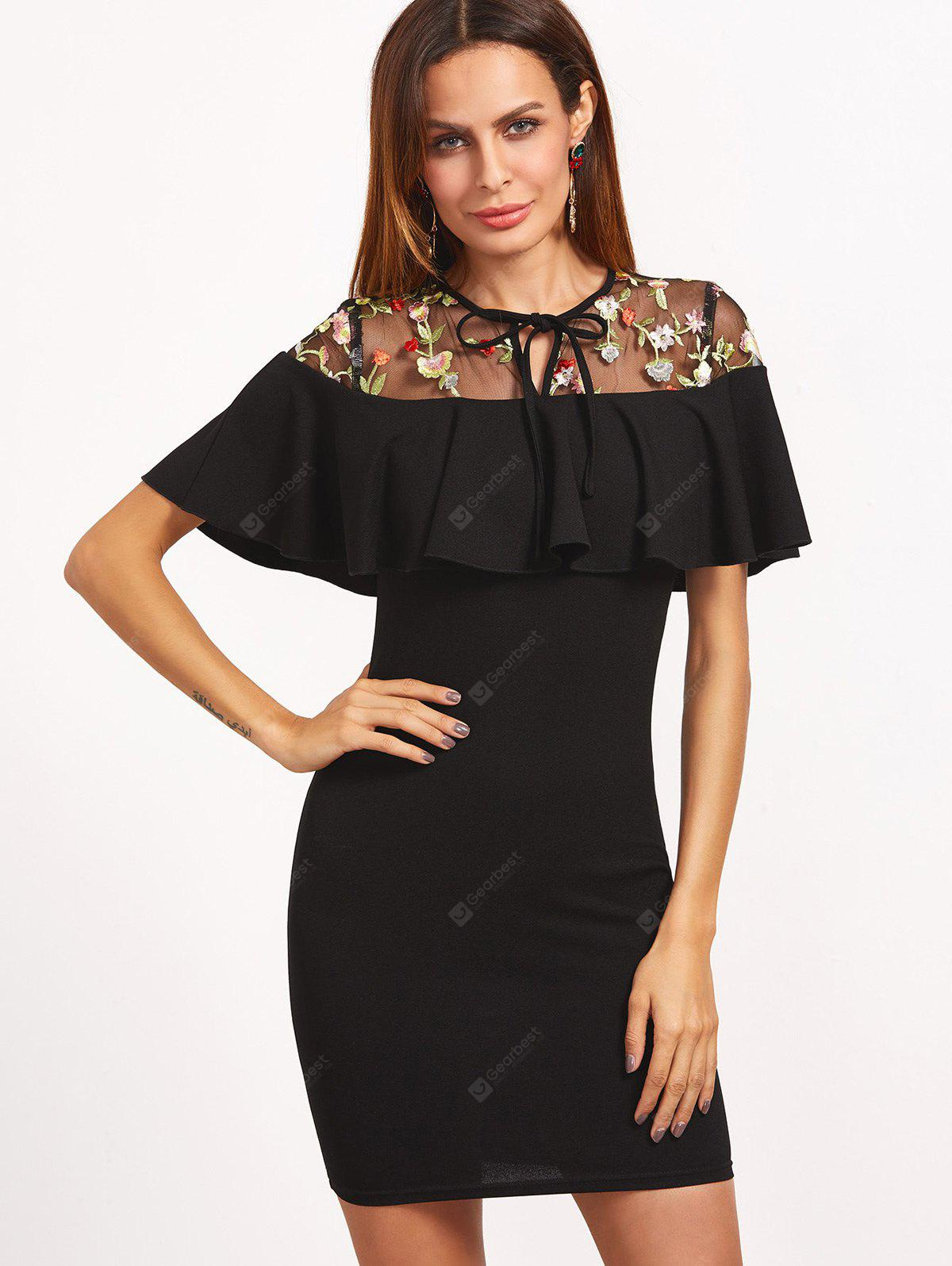 Floral Embroidered Voile Panel Bodycon Dress