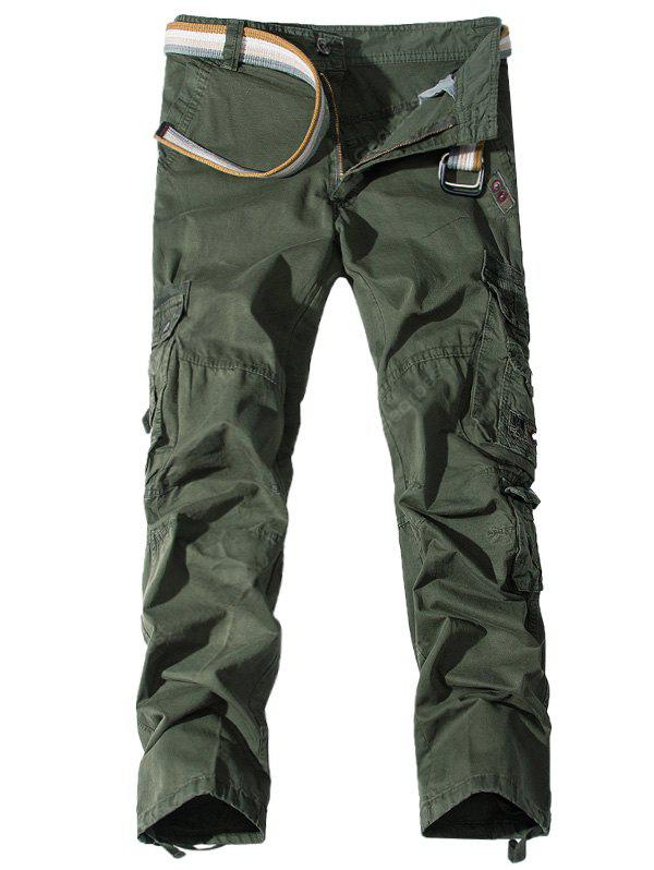 Zipper Fly Pockets Embellished Cargo Pants