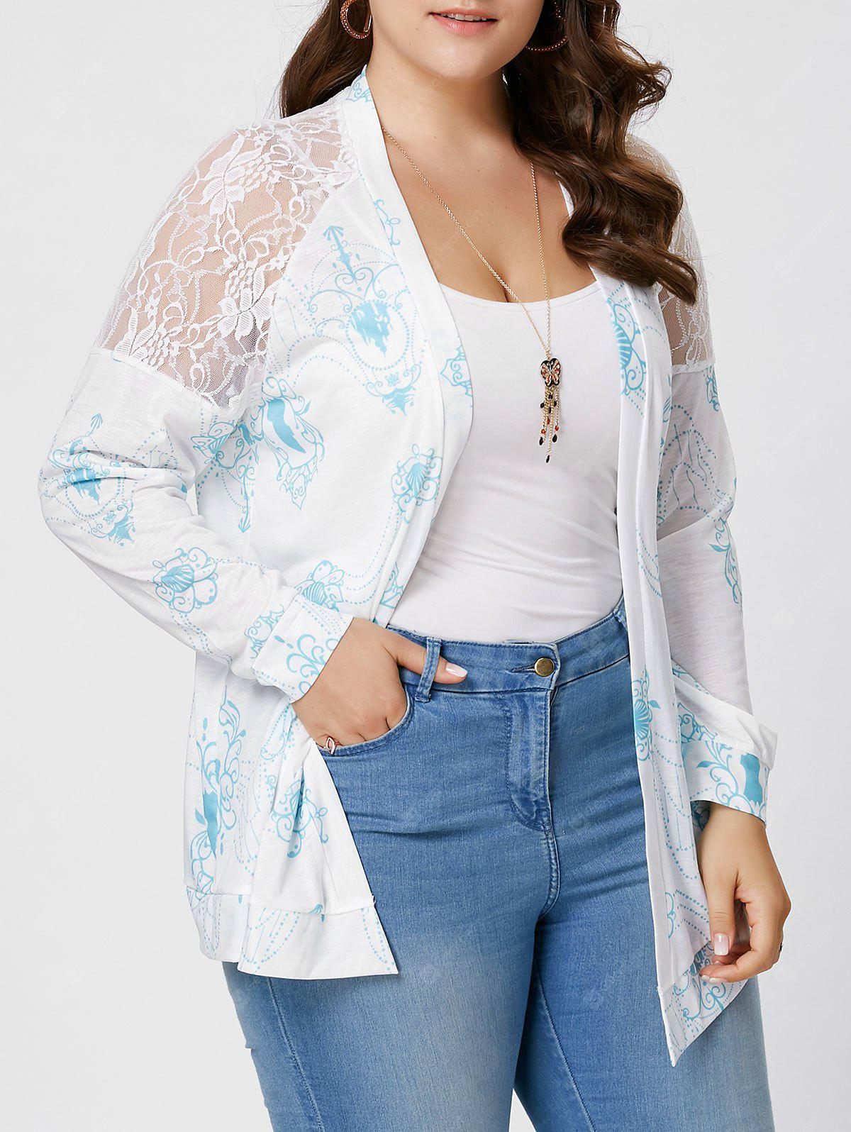 Plus Size  Sheer Back Lace Crochet Long Sleeve Cardigan