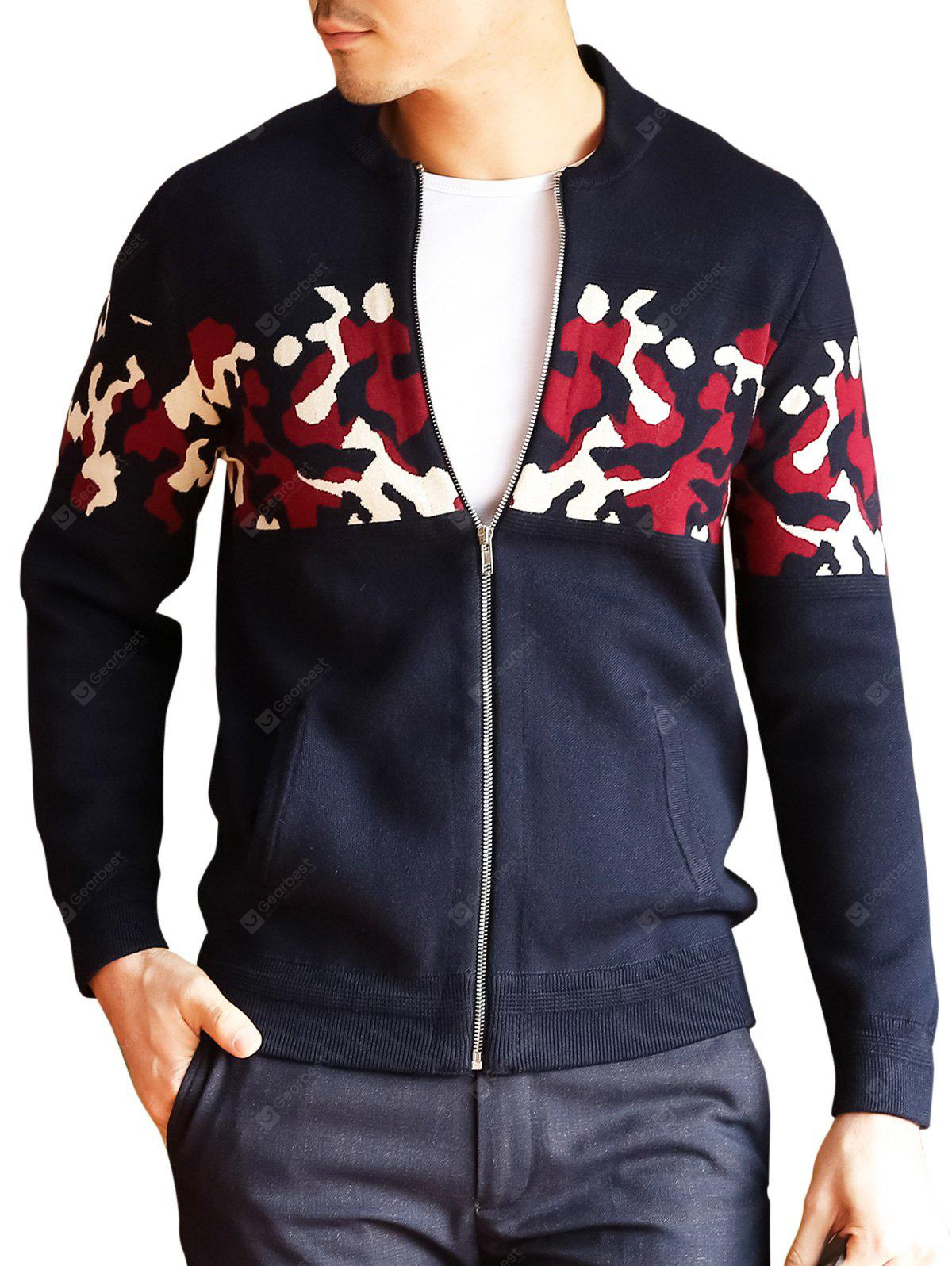 Zip Up Camo Cardigan