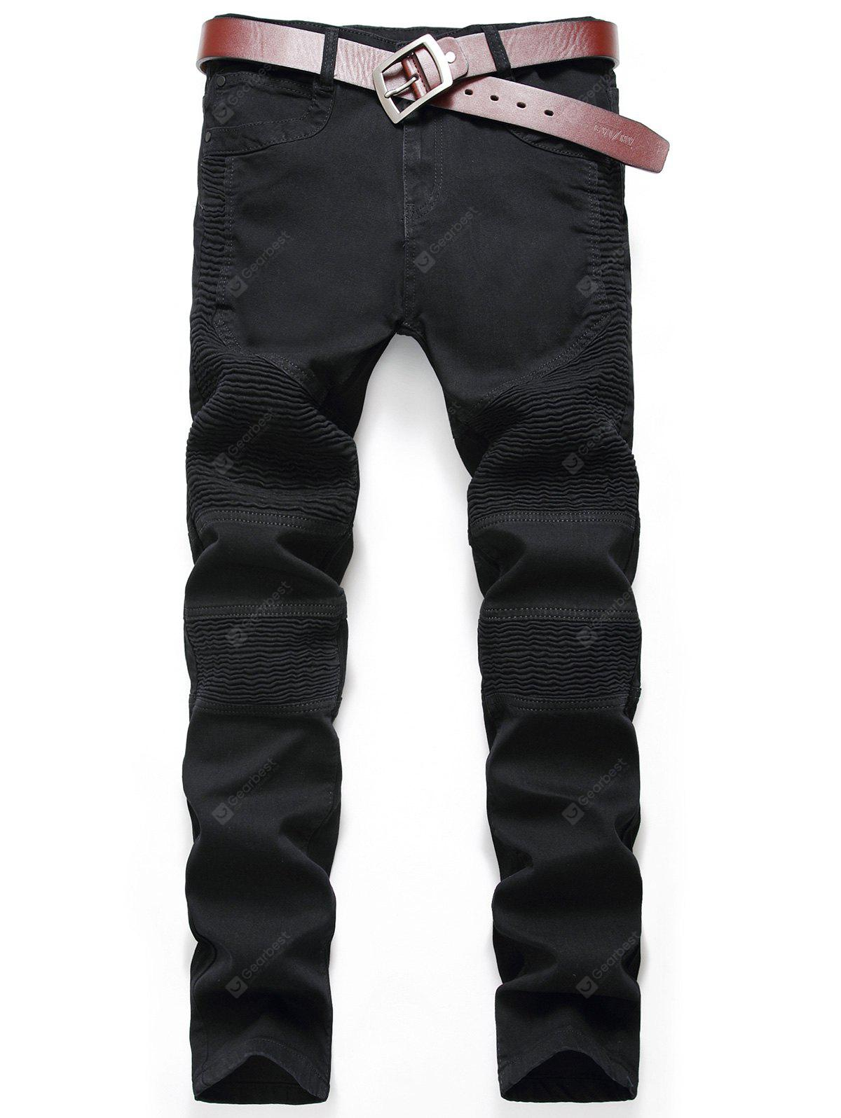 Zip Fly Pleat Design Biker Jeans
