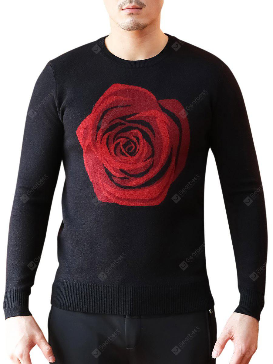Rose Pattern Crew Neck Sweater