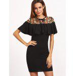 Floral Embroidered Voile Panel Bodycon Dress - BLACK